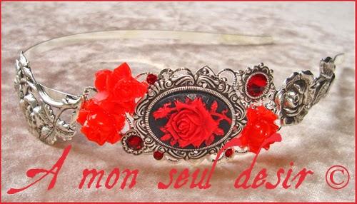 Serre tête camée rose rouge victorien gothique mariage romantique saint valentin amour camée fleur rouge victorien red rose red flower cameo wedding headband