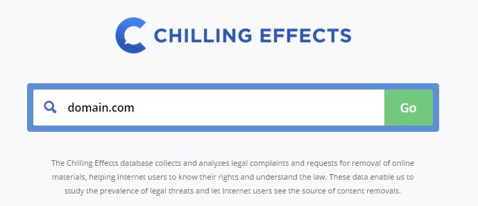 Chilling Effects поиск нарушений