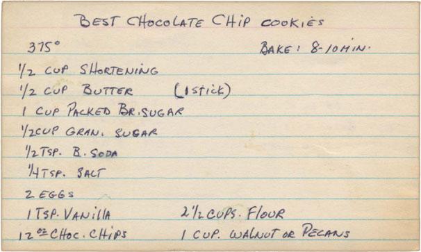 Memere S Favorite Recipes Mem 232 Re S Best Chocolate Chip