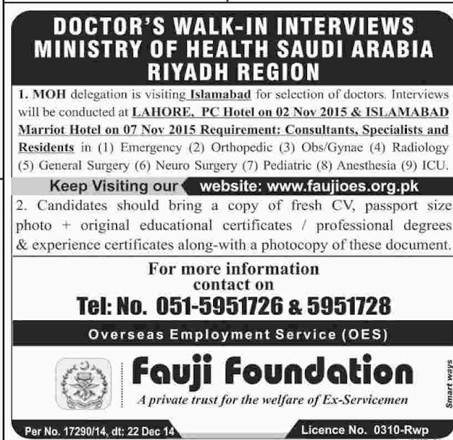 Doctors Jobs in Saudi Arabia for Different Discipline