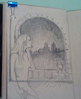 Sketch of Juliet looking out the window at the dawn light.