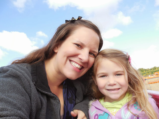 Here's one of S and I on our first hay ride to make up for it :)