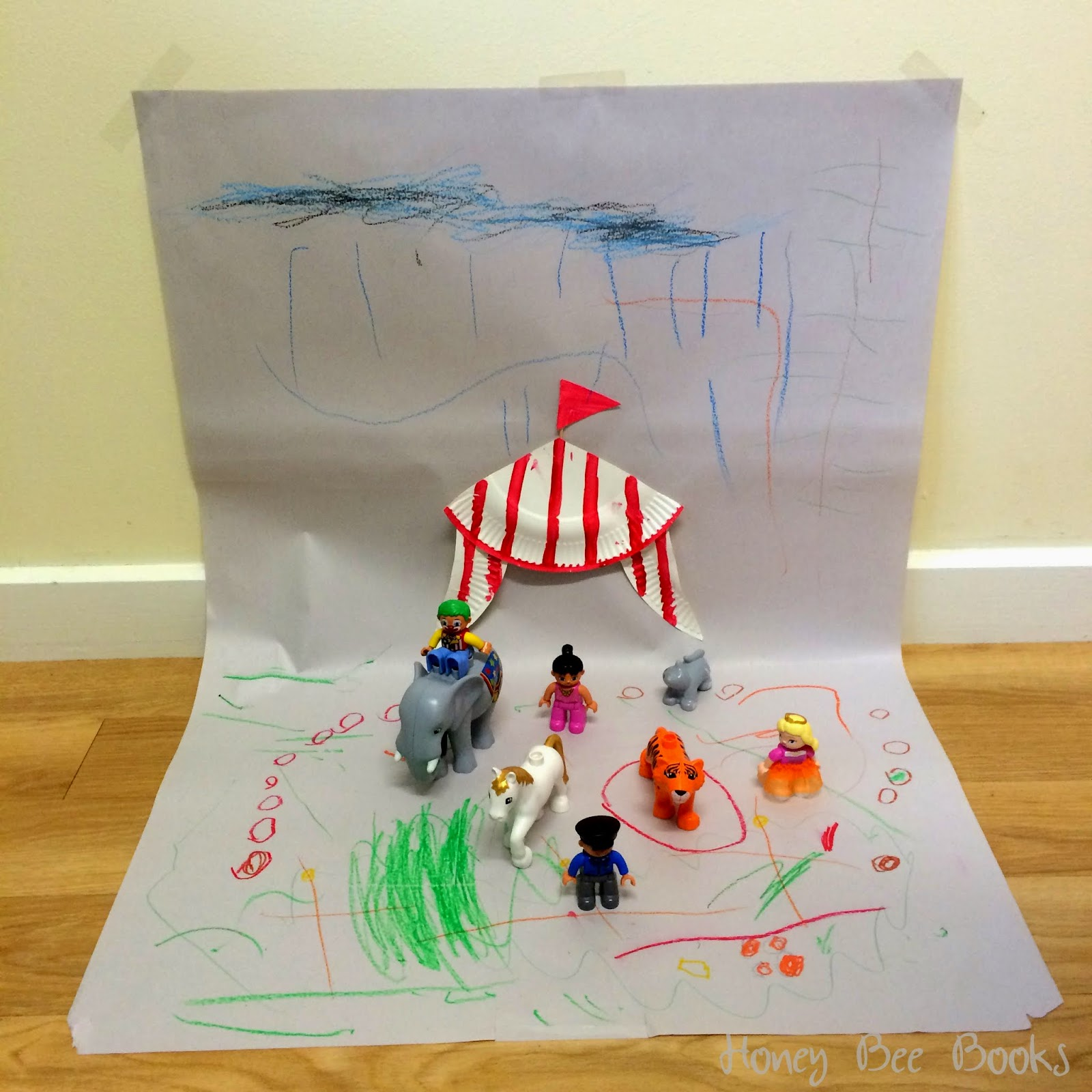 Creating a Circus scene using a paper plate circus tent