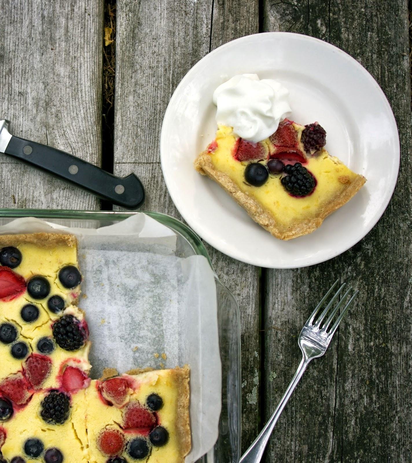 Sugarless Lemon Berry Tart- simplelivingeating.com
