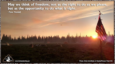 May we think of freedom, not as the right to do as we please, but as the opportunity to do what is right. – Peter Marshall