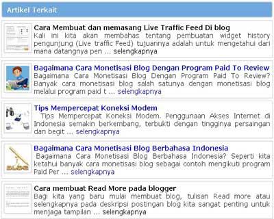 Cara Membuat Artikel Terkait Blog Dengan Gambar Di Bawah Postingan