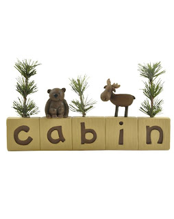 bear moose tree cabin  blossom bucket figurine
