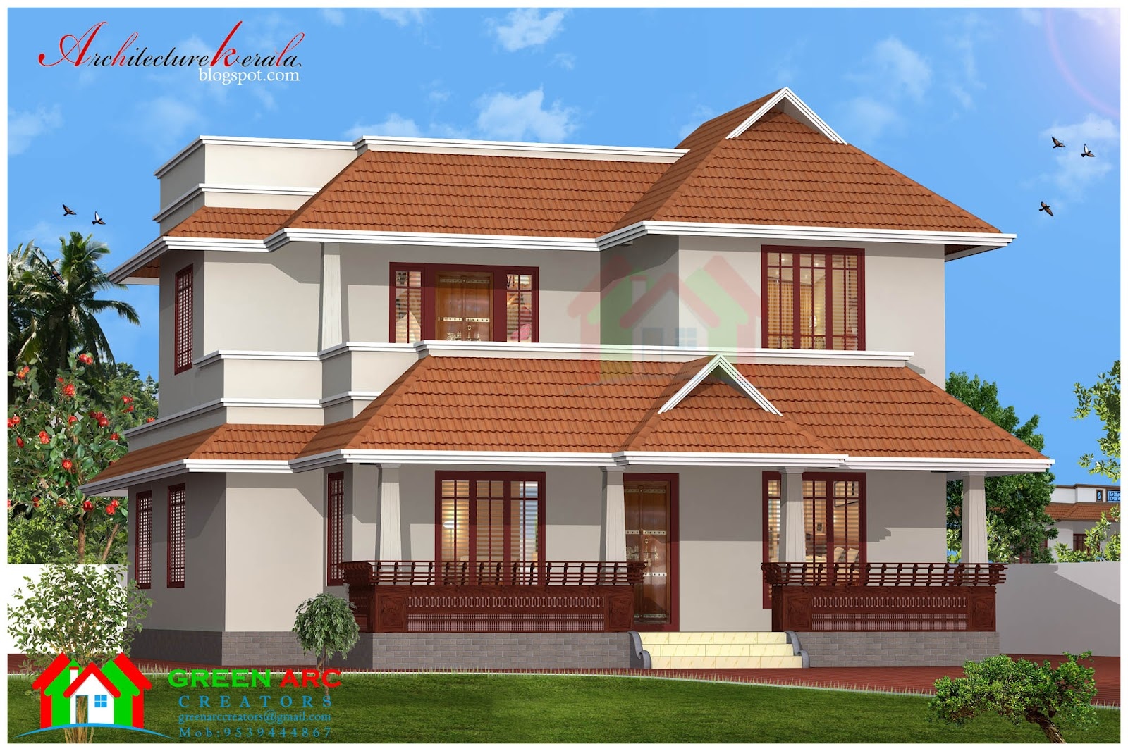 Traditional style kerala house plan and elevation for Conventional style home