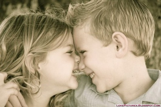cute kids love hug couple