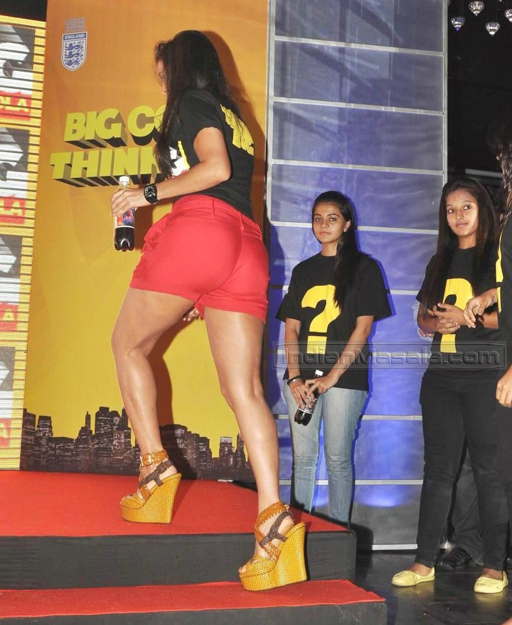 Neha Dhupia sexy legs and ass at Big Cola launch event