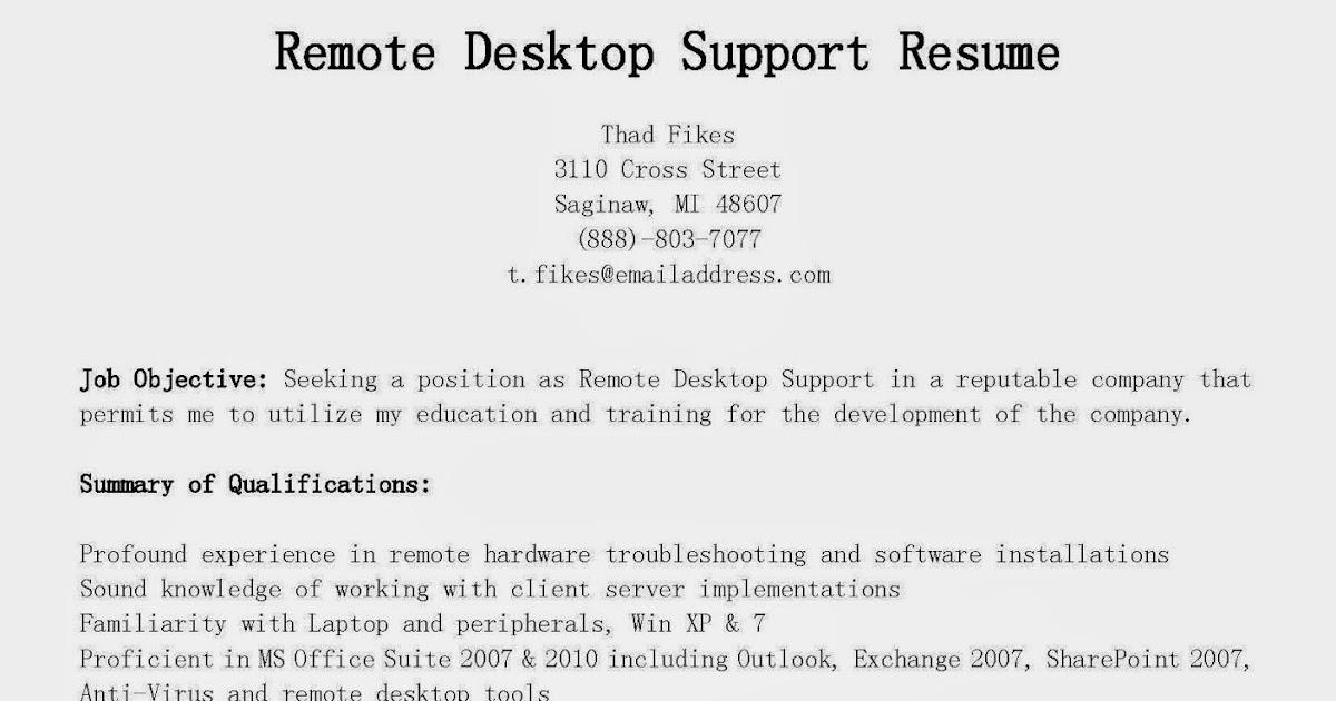 resume samples remote desktop support resume sample