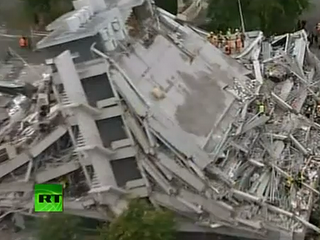collapsed building caused by an earthquake in New Zealand