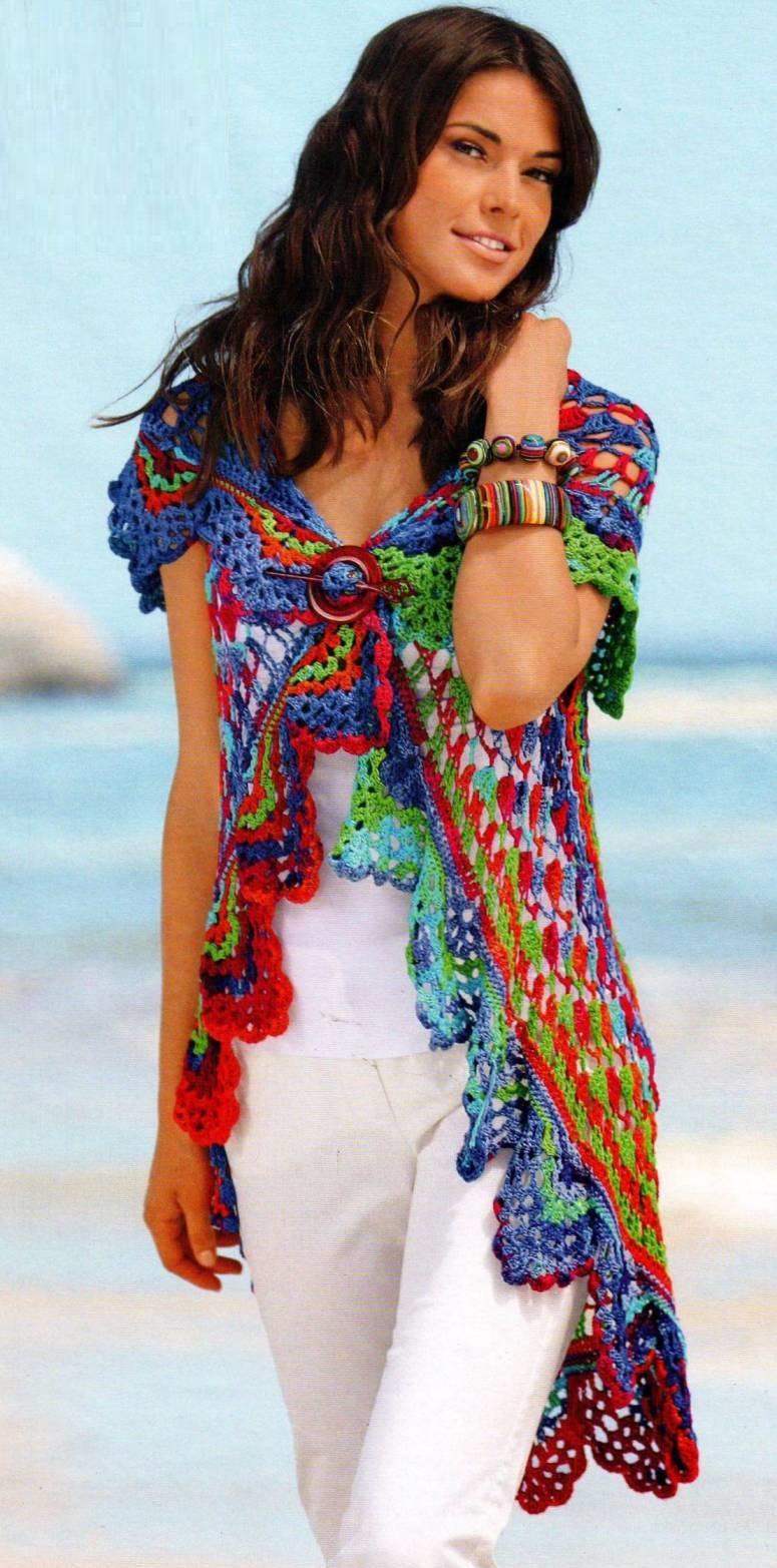 Tunica-Chaleco con Circulo Crochet