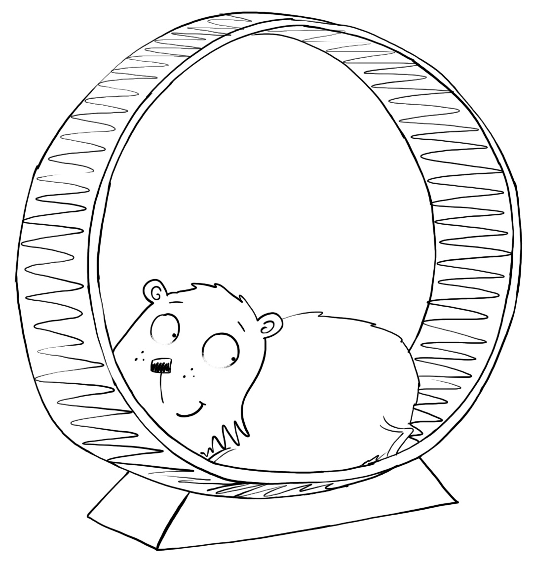 how to draw a hamster on a wheel