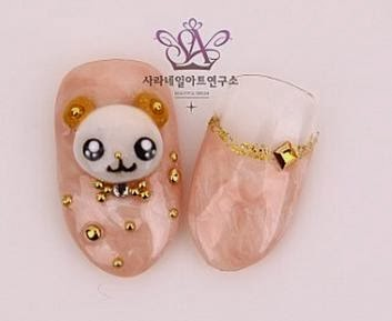 Sara Nail Korean Cute Bear Nail Arts Cute Korean Nail Design