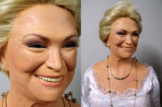 Escultura em cera de famosidades por Marcelo Rezende
