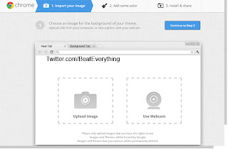 How to create theme for Google Chrome, select image from hard drive or from webcam