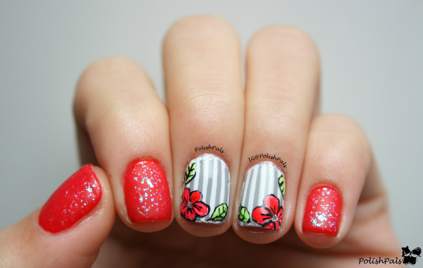 Polish Pals: Time For Red Floral