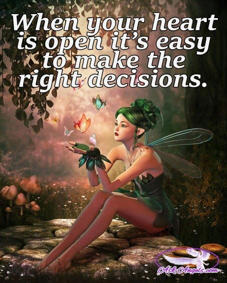 """When your heart is open it's easy to make the right decisions."" ~ Unknown; Picture of a female green faerie playing with butterflies in a forest. AskAngels.com"