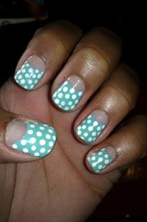 Half-moon, mint, gree, polak dot, nail art, mani