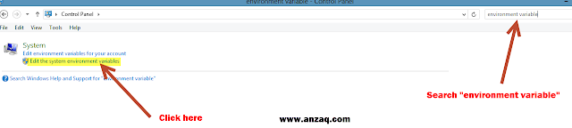 environment variable in control panel