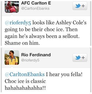Tweet Rio Ferdinand Terhadap Salah Satu Pengguna Twitter