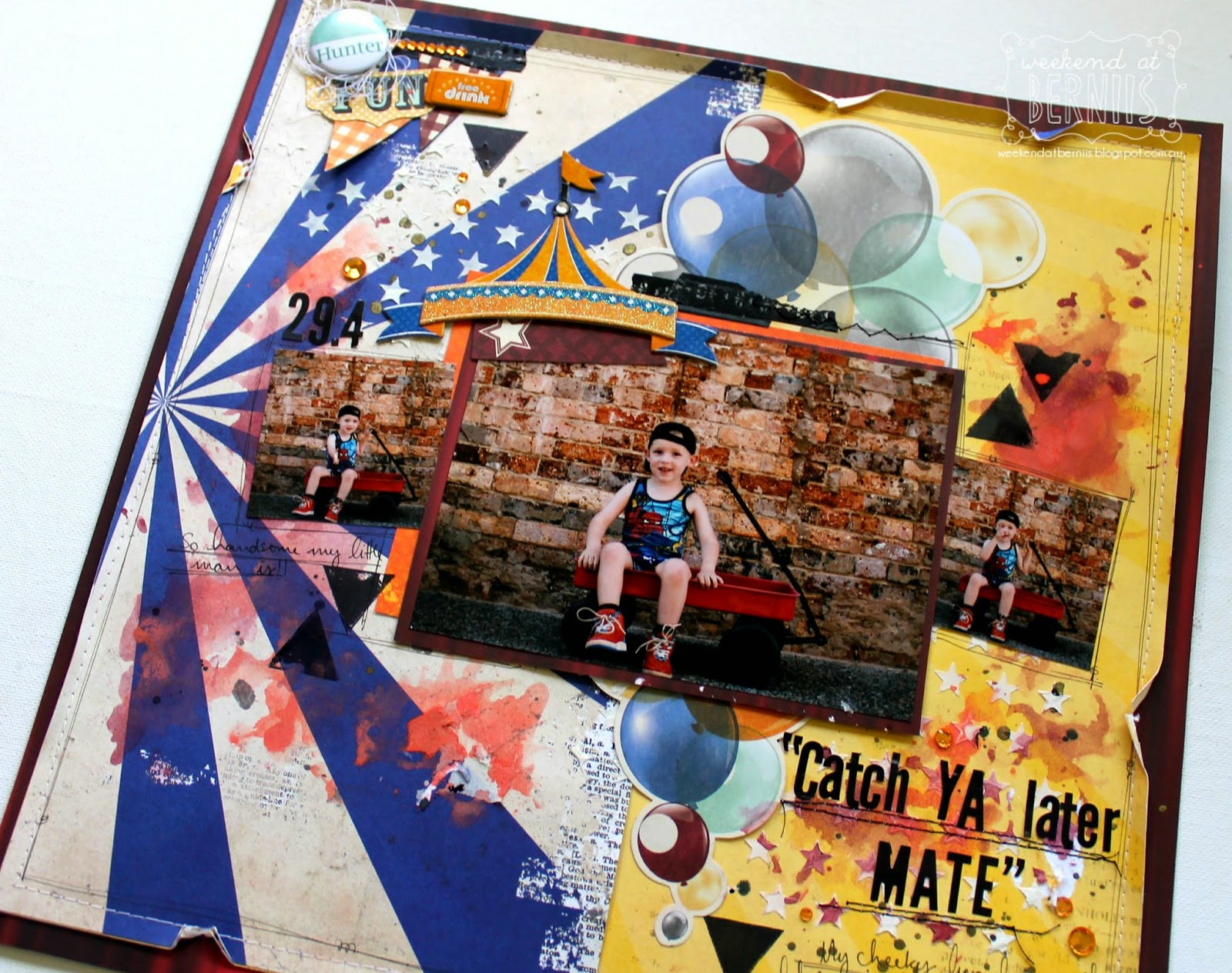 """Catch ya later mate "" layout by Bernii Miller for BoBunny using the Carnival Collection."