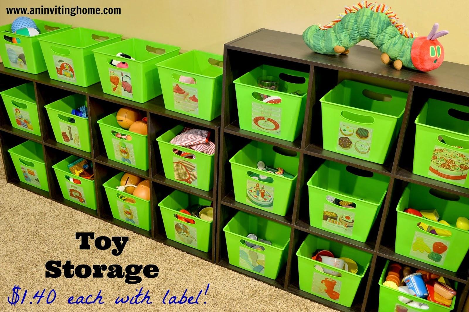 organizing toy bins