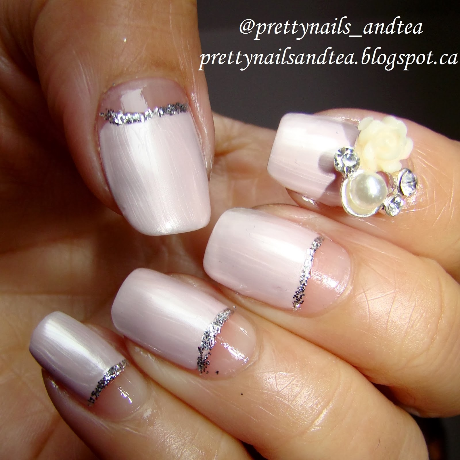 pink with glitter wedding nails classic french