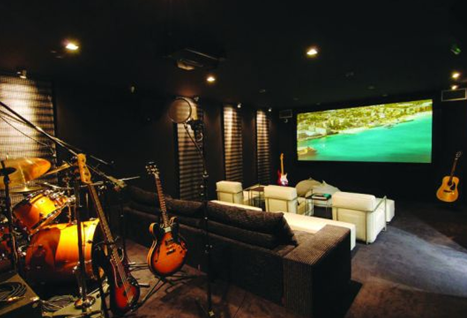 recording studio in villa rockstar in hotel eden rock in st. barths caribbean islands