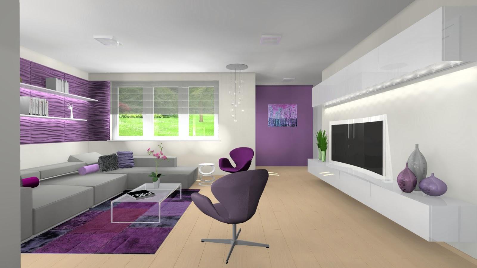 Otthon és Dekor: Egy modern lakás lilában: nappali, étkező, konyha látványtervek