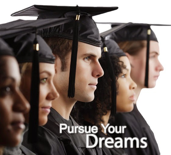 Image of graduates standing alongside of one another.  Caption: Pursue Your Dreams