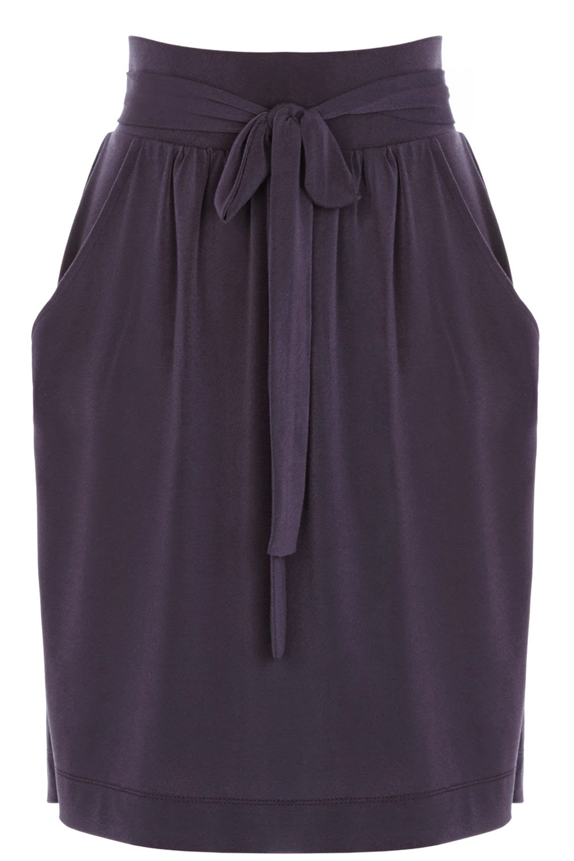 navy belted skirt