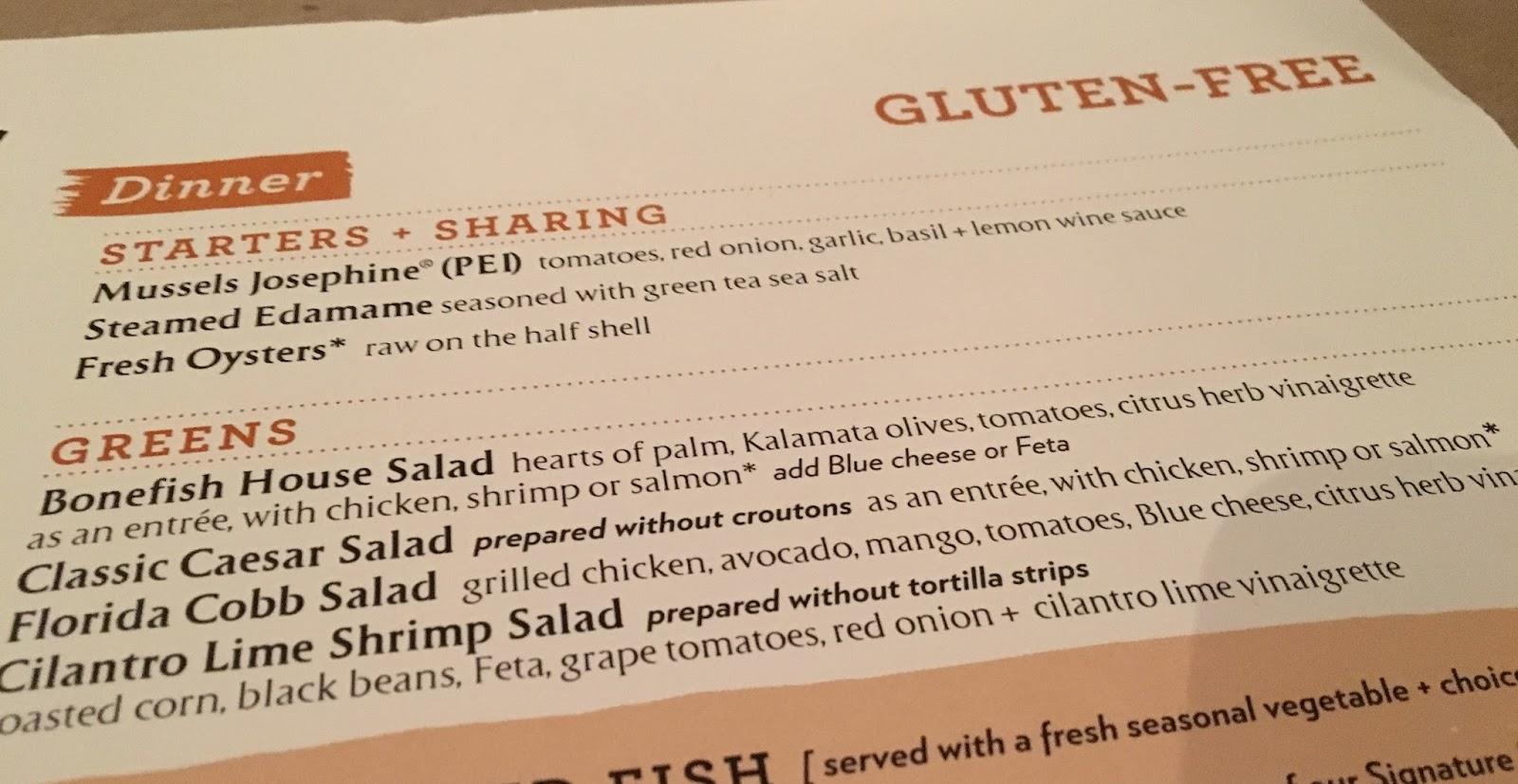 the gluten u0026 dairy free review blog bonefish grill gluten free menu