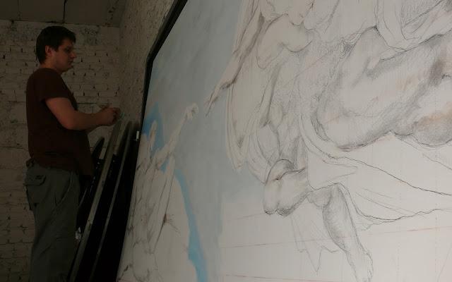 Malowanie kopi obrazu, reprodukcja znanego dzieła Michała Anioła Stworzenie Adama