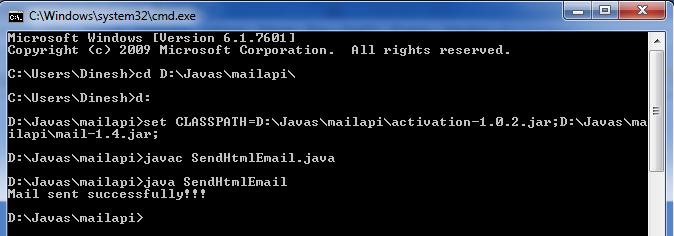 JavaMail API Sending an HTML Email