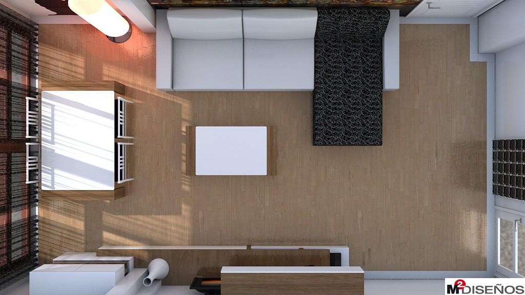 Proyecto de salón comedor con columna en pared de mueble. | M² DISEÑOS
