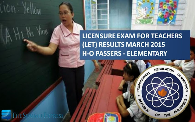 H-O Passers: LET Results March 2015 Elementary Alphabetical List