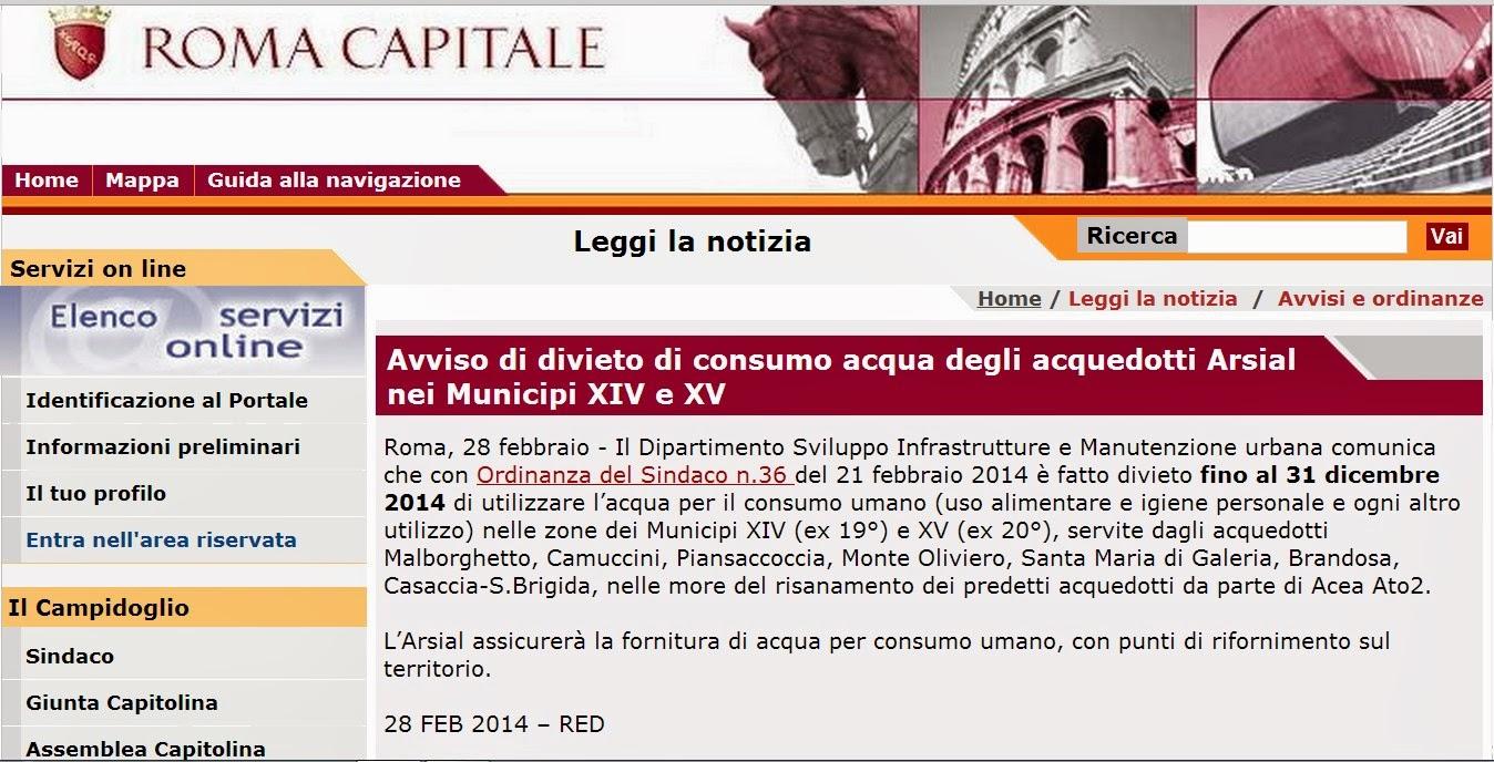 Il sito del comune di Roma con l'ordinanza