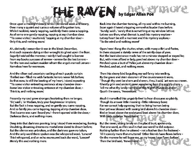 how does poe create tension in the poem the raven How could the raven be a symbol in this poem what clues does poe give you to imply that the raven is a symbol rather than a literal creature poe informs us with the.