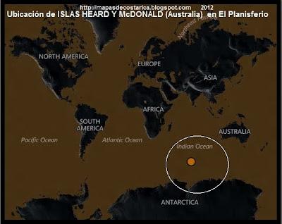 El Mundo. Ubicación de ISLAS HEARD Y McDONALD (Australia) en El Planisferio, BING