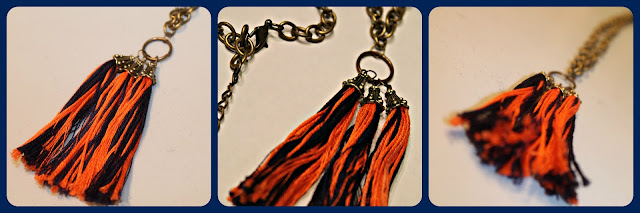 Orange and blue antique brass tassel necklace.