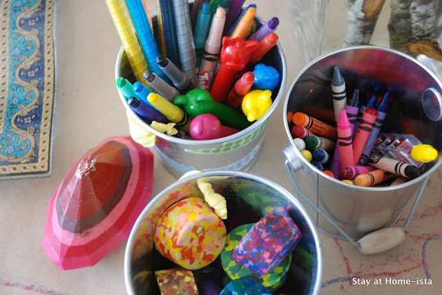 variety of crayons as a tablescape.