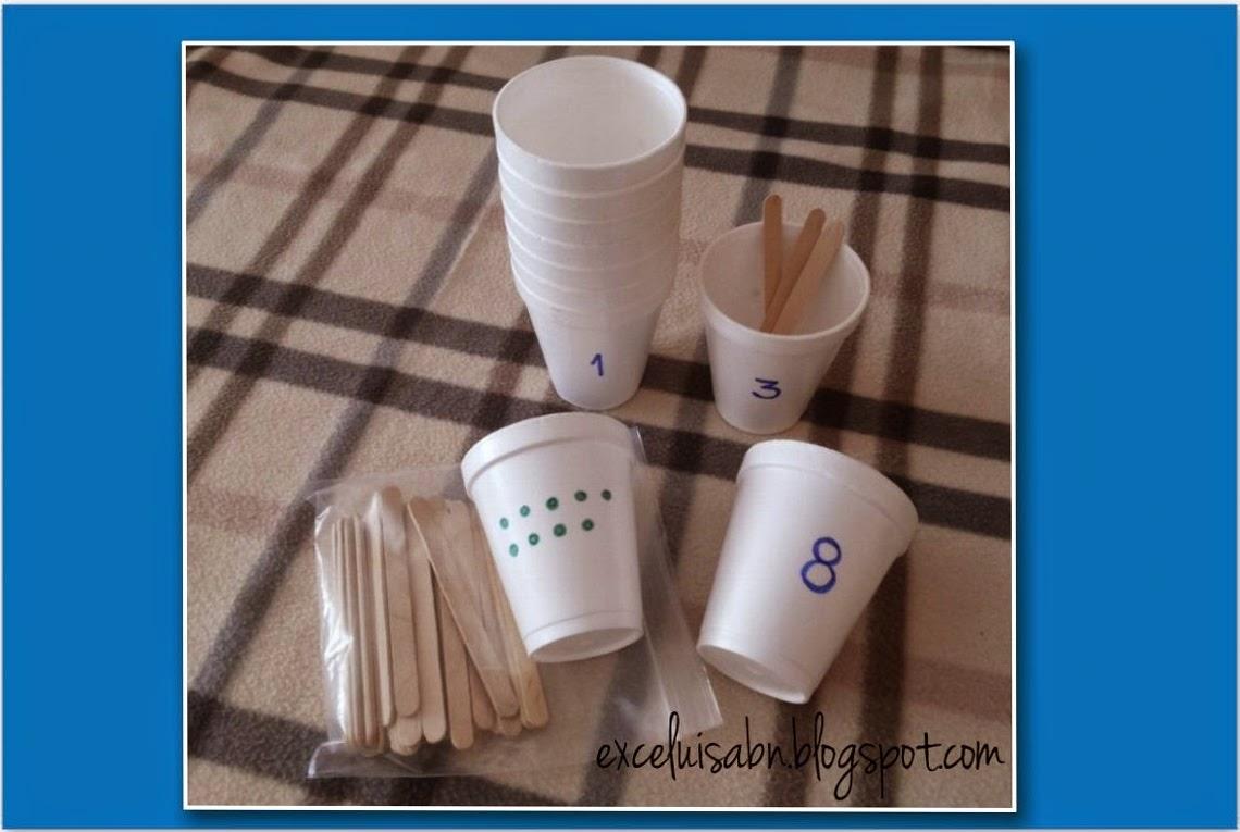 Numeración con vasos desechables y palos de helados