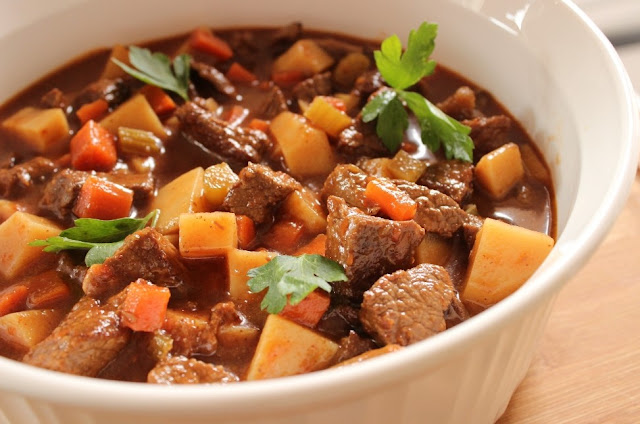 Beef and Vegetable Stew in Roasted Red Pepper and Jalapeno Sauce