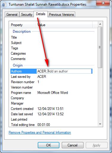 Cara merubah nama author atau penulis di file Word excel power point