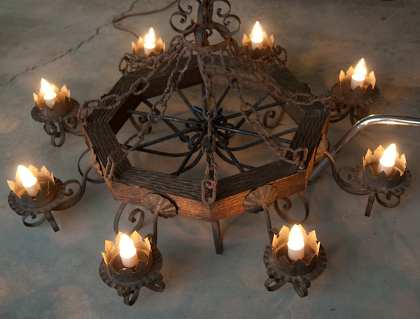 Heygreenie Wrought Iron Wooden Gothic Chandelier Jk