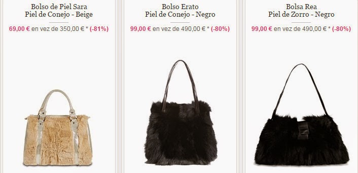 Elegantes y económicos bolsos de piel de conejo y de zorro en oferta