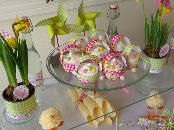 Easter garden party basket cupcakes