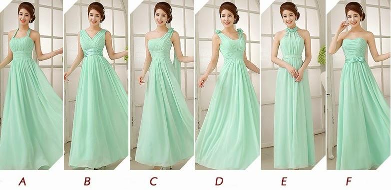 New Mint Green 6 Design Bridesmaids Maxi Dress